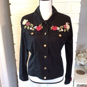 Havenbleu Black Floral Embroidered Jacket